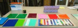 Farvet glas prøver